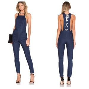kendall + kylie / lace up jean overalls revolve